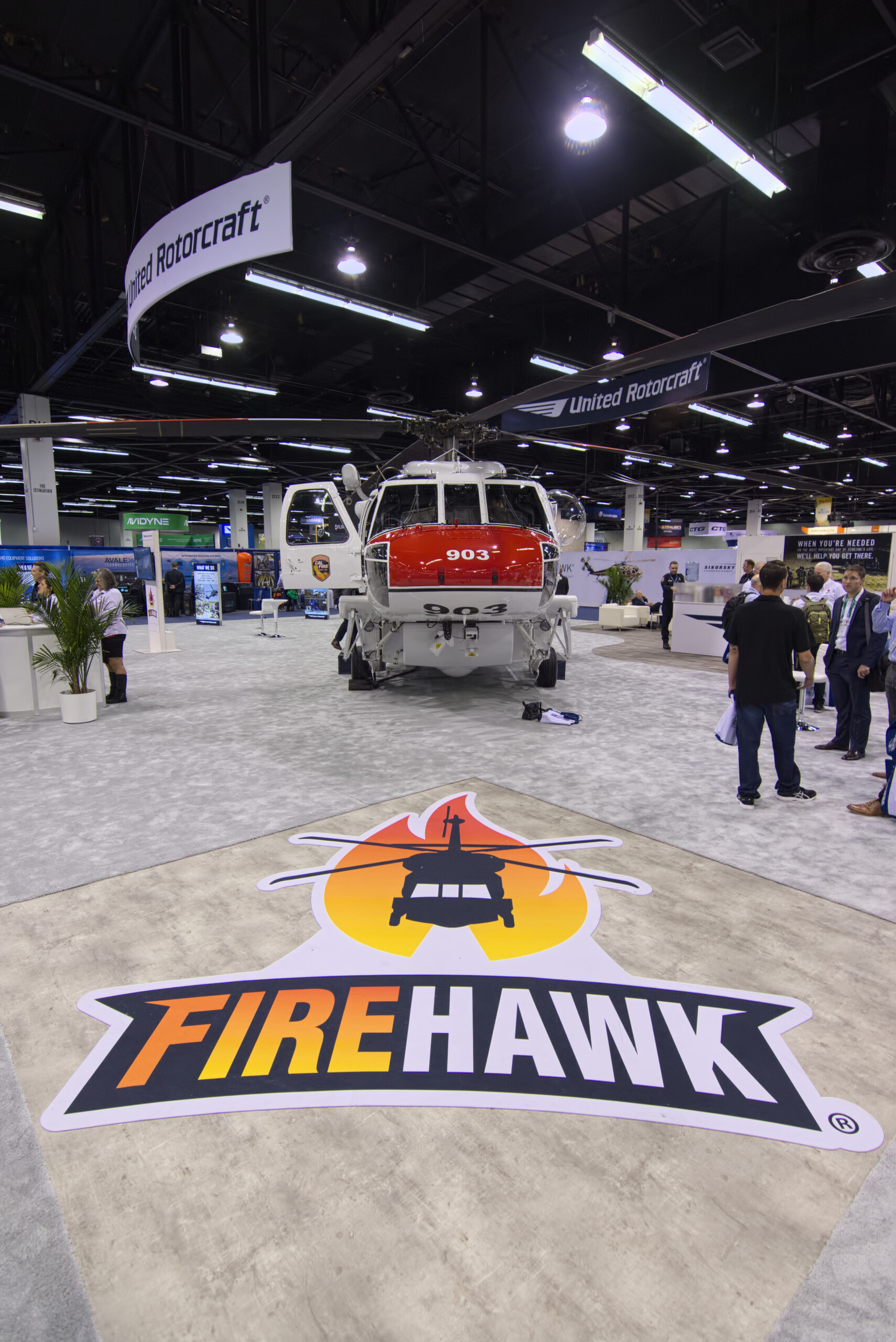 Sikorsky's CalFire S70i Firehawk formed the center of its booth at Heli-Expo 2020 in Anaheim. Damon Duran Photo.