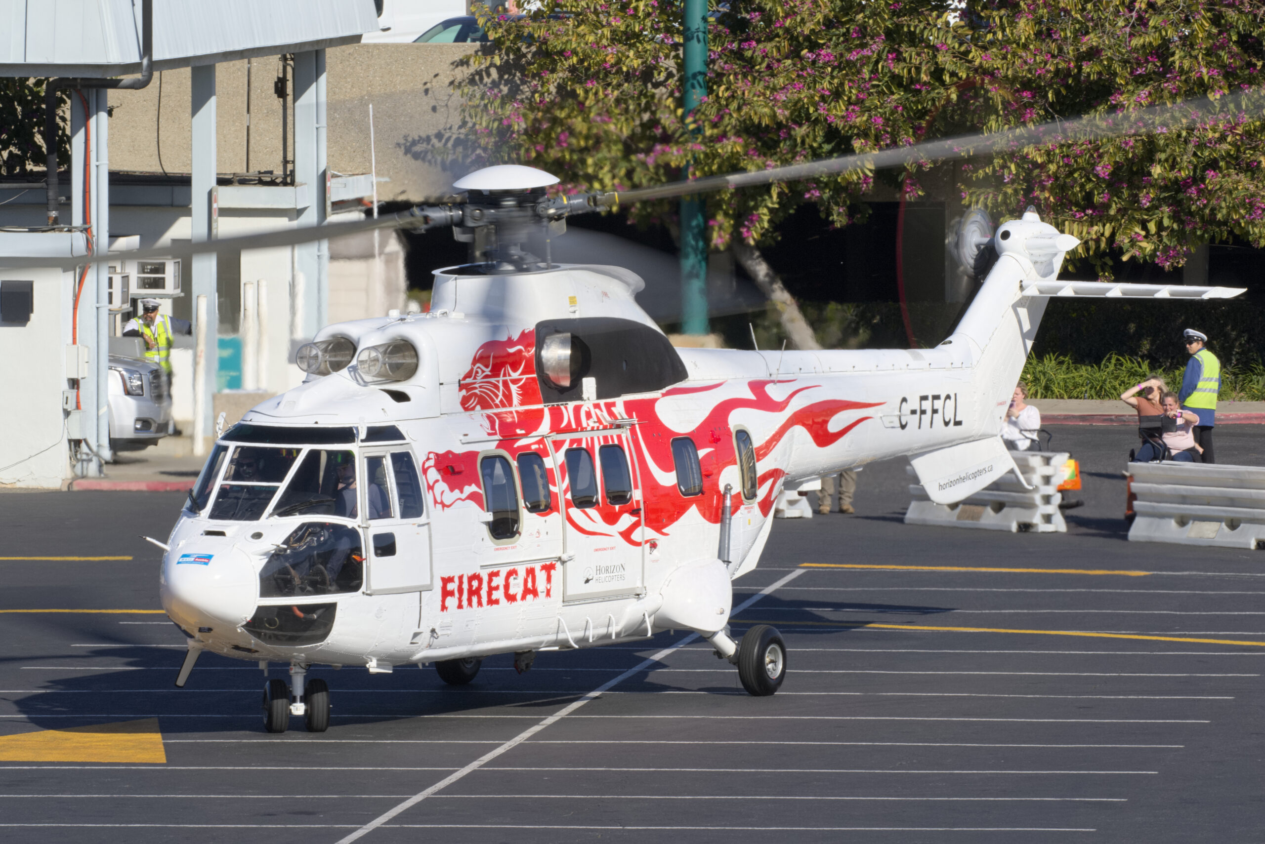 The Heli Austria EC225 Firecat featured Helitak Australia's latest aerial firefighting tank offering among several others on display from the company at Heli-Expo this year. Damon Duran photo.