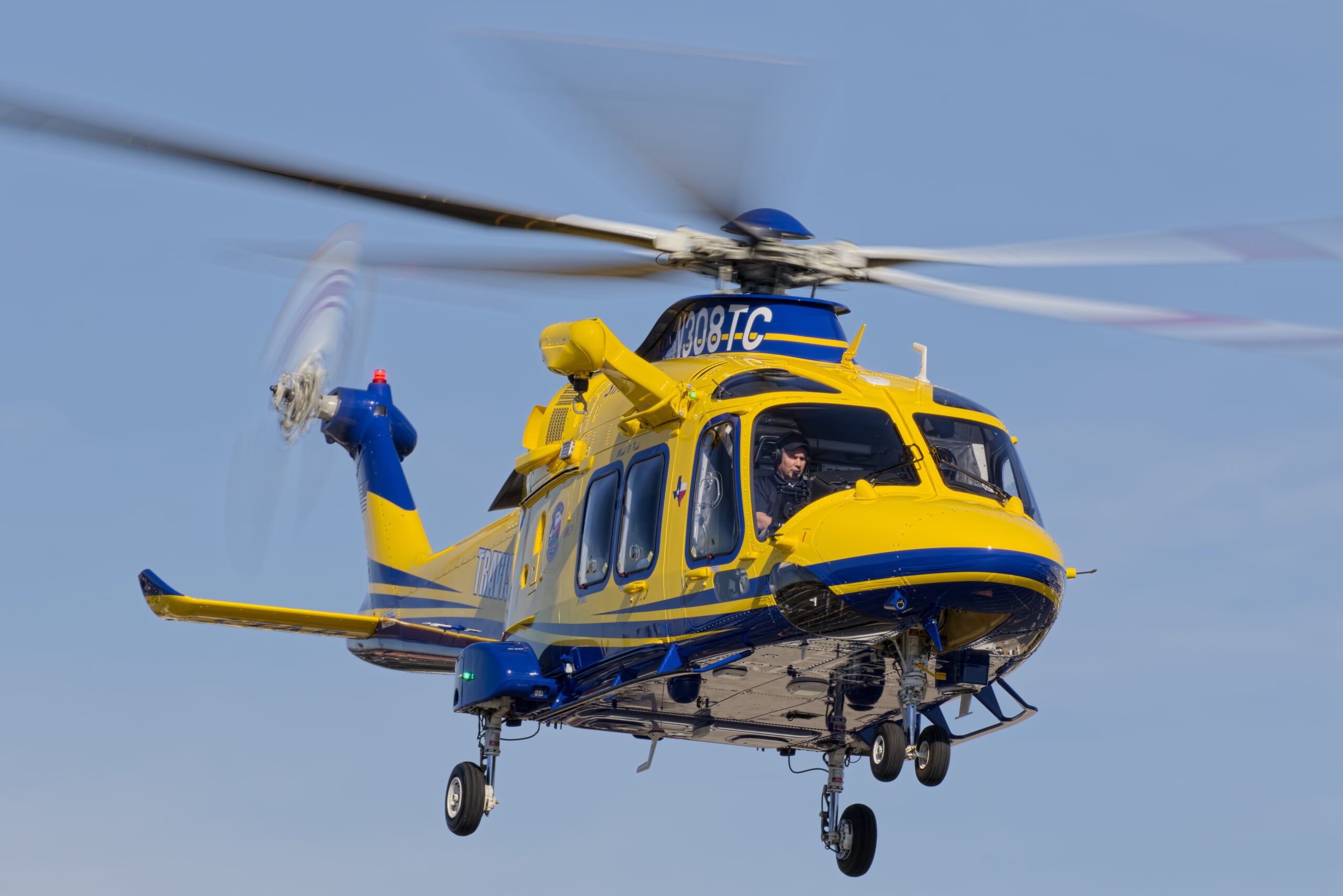 Travis County (Texas) AW169 formed part of the Leonardo Helicopters booth at Heli-Expo 2020. Damon Duran Photo.