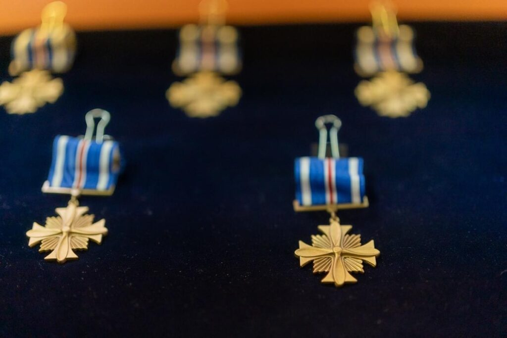 The Distinguished Flying Cross was awarded to all of the members of the flight crews that performed the rescue during the Creek Fire by President Donald Trump at McClellan Air Force Base in California.